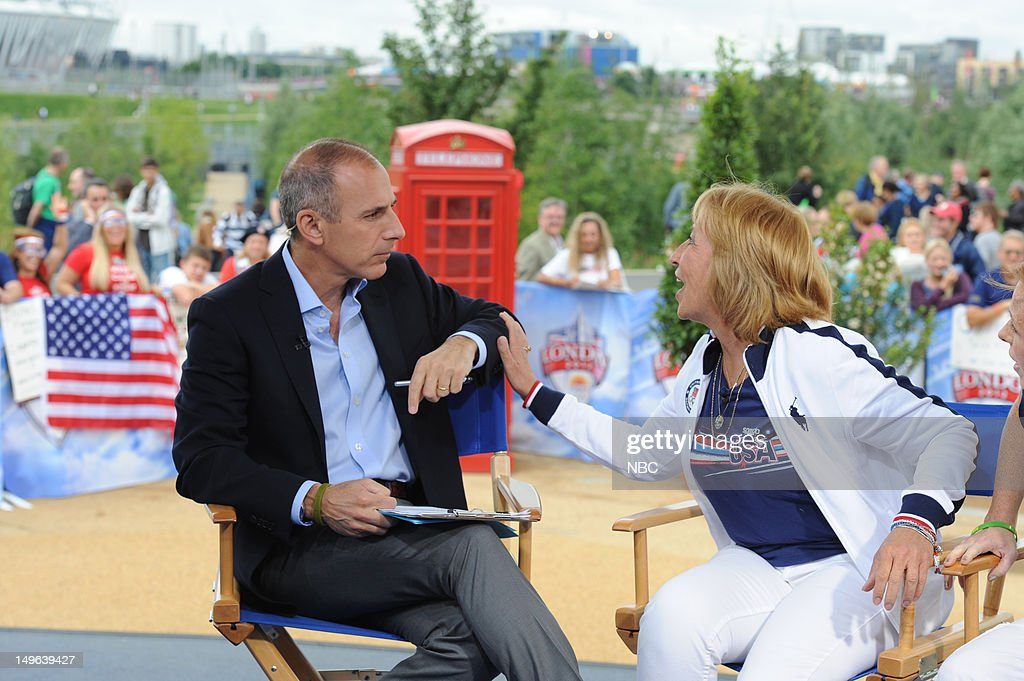 <a gi-track='captionPersonalityLinkClicked' href=/galleries/search?phrase=Matt+Lauer&family=editorial&specificpeople=206146 ng-click='$event.stopPropagation()'>Matt Lauer</a>, Ileana Lochte during the 2012 Summer Olympic Games on July 31, 2012 in London, England --