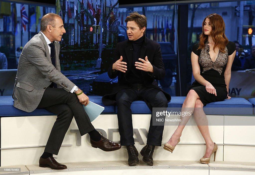 Matt Lauer, Jeremy Renner and Gemma Arterton appear on NBC News' 'Today' show --