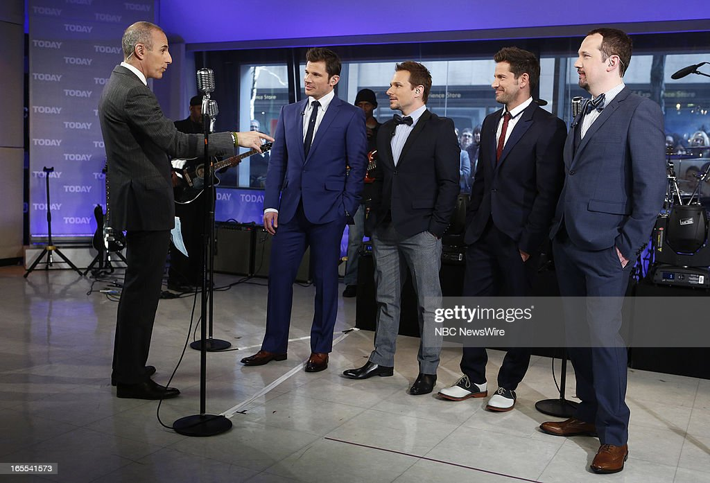 Matt Lauer, Nick Lachey, Drew Lachey, Jeff Timmons and Justin Jeffre appear on NBC News' 'Today' show --