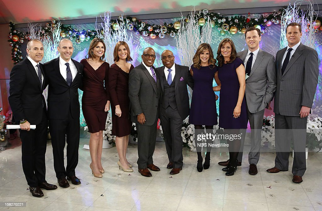 Matt Lauer, Savannah Guthrie, Al Roker, Natalie Morales and Willie Geist and their look-alikes appear on NBC News' 'Today' show --