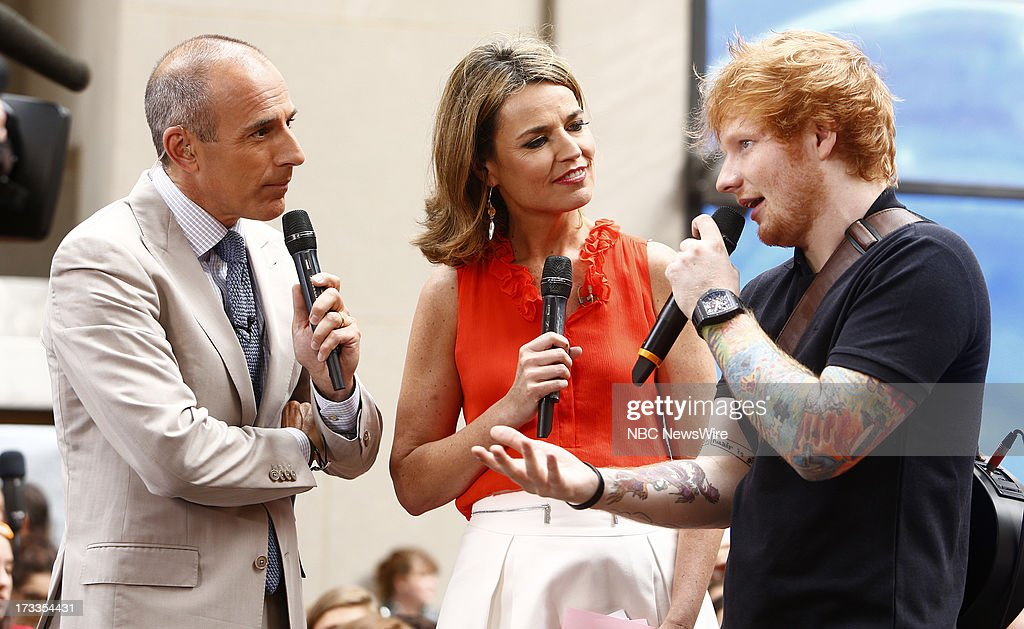 Matt Lauer, Savannah Guthrie and Ed Sheeran appear on NBC News' 'Today' show --