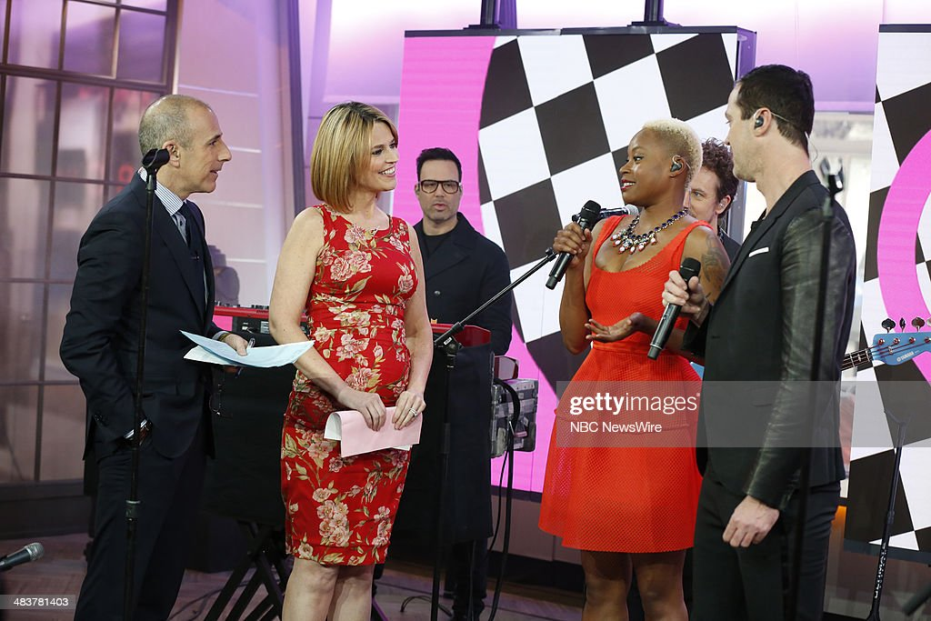 Matt Lauer, Savannah Guthrie, Noelle Scaggs, Michael Fitzpatrick of Fitz and The Tantrums appear on NBC News' 'Today' show --