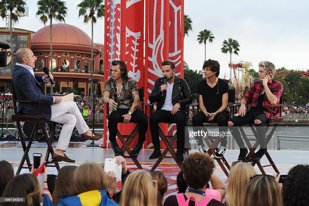 Matt Lauer talks with Harry Styles, Liam Payne, Louis Tomlinson and Niall Horan of 'One Direction' appear on the 'Today' show from Universal Orlando Resort on Monday, November 17, 2014 --