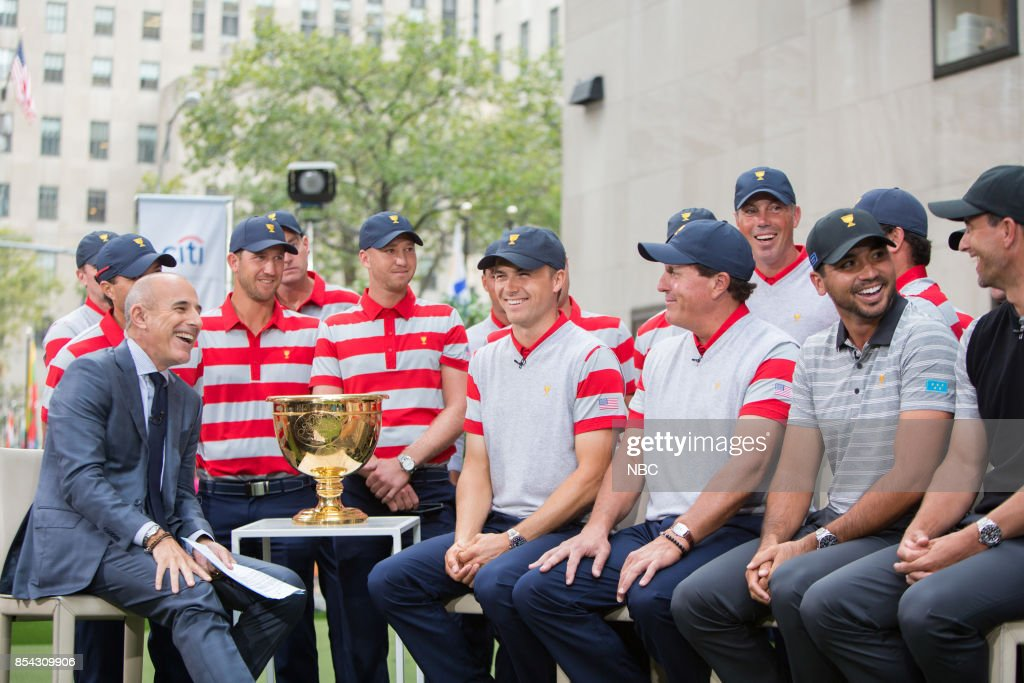 Matt Lauer with Jordan Speith, Phil Mickelson, Jason Day and Rickie Fowler on Tuesday, September 26, 2017 --