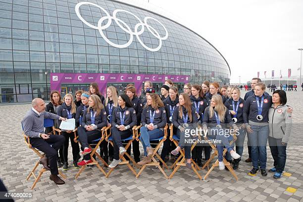 Matt Lauer with The United States Women's Hockey Team from the 2014 Olympics in Socci