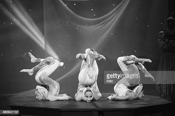Members of Cirque du Soleil perform on November 22 1990