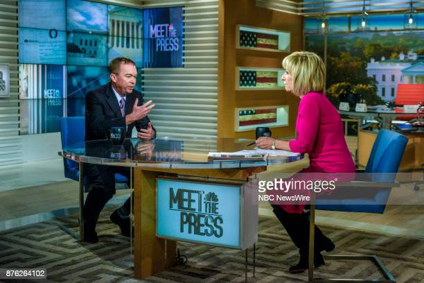 Mick Mulvaney Director Office of Management and Budget and guest moderator Andrea Mitchell appear on 'Meet the Press' in Washington DC Sunday Nov 19...