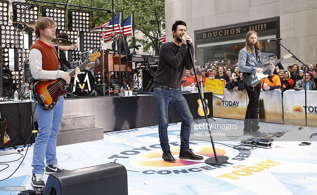Mickey Madden, Adam Levine and James Valentine of Maroon 5 appear on NBC News' 'Today' show --