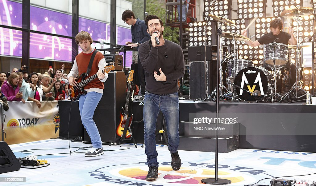Mickey Madden, Jesse Carmichael, Adam Levine and Matt Flynn of Maroon 5 appear on NBC News' 'Today' show --