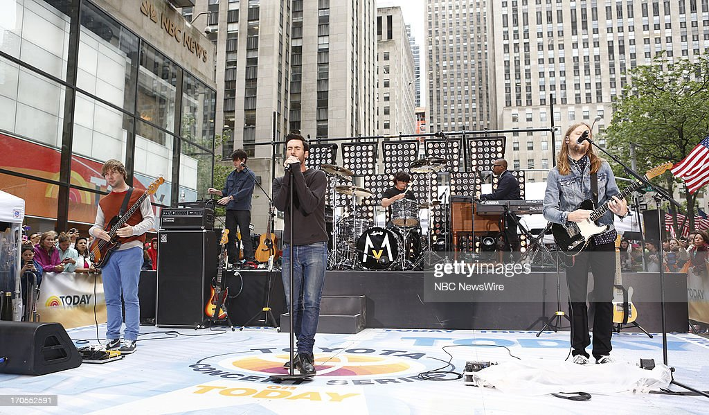 Mickey Madden, Jesse Carmichael, Adam Levine, Matt Flynn and James Valentine of Maroon 5 appear on NBC News' 'Today' show --
