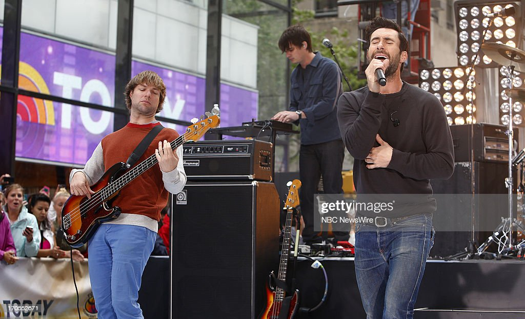 Mickey Madden, Jesse Carmichael and Adam Levine of Maroon 5 appears on NBC News' 'Today' show --