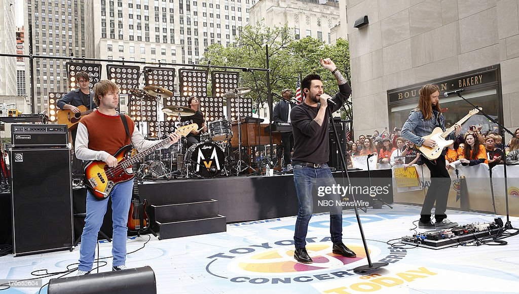 Mickey Madden, Matt Flynn, Adam Levine and James Valentine of Maroon 5 appear on NBC News' 'Today' show --
