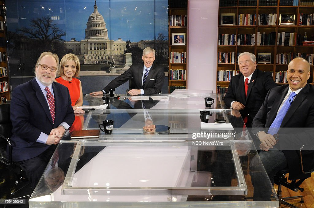 – Mike Murphy, Republican Strategist, Andrea Mitchell, Chief Foreign Affairs Correspondent, NBC News, moderator David Gregory, Fmr. Gov. Haley Barbour (R-MS) and Mayor Cory Booker (D-Newark) appear on 'Meet the Press' in Washington D.C., Sunday, Jan. 13, 2013.