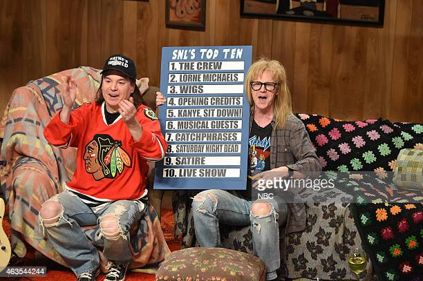 Mike Myers as Wayne Dana Carvey as Garth during the Wayne's World skit on February 15 2015