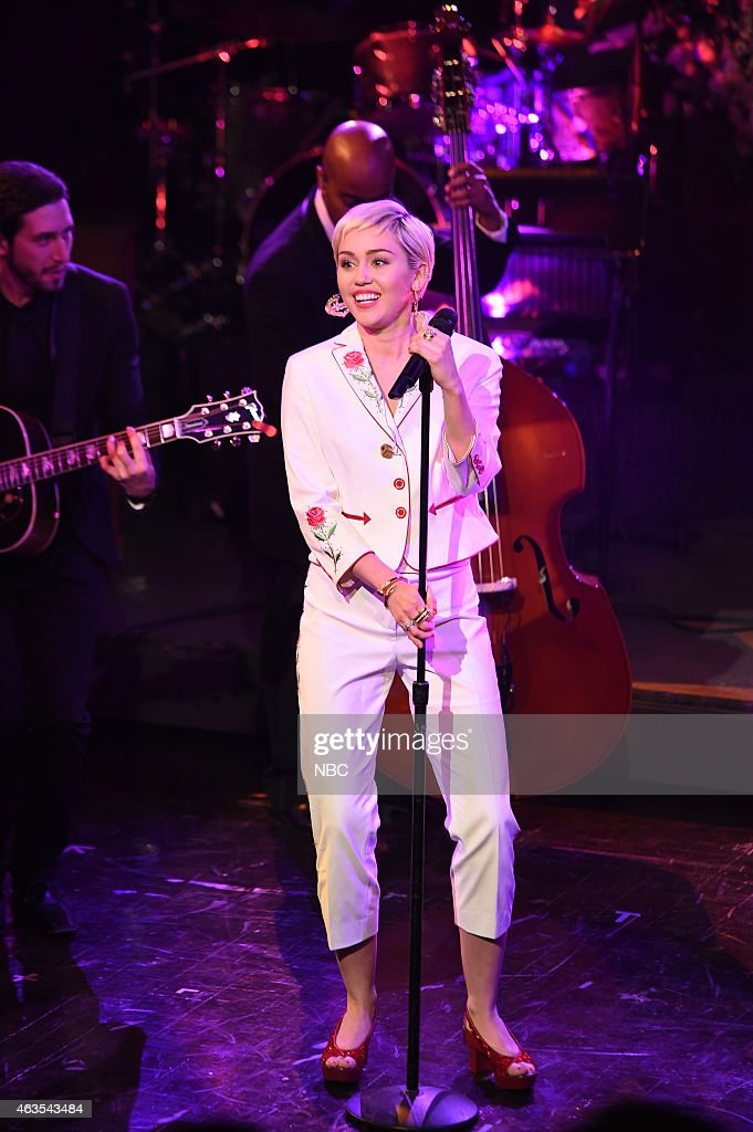 Miley Cyrus performs on February 15 2015