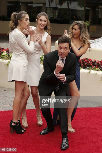 Miss Golden Globe 2017 Sistine Rose Stallone Scarlet Rose Stallone and Sophia Rose Stallone with host Jimmy Fallon during the 74th Annual Golden...