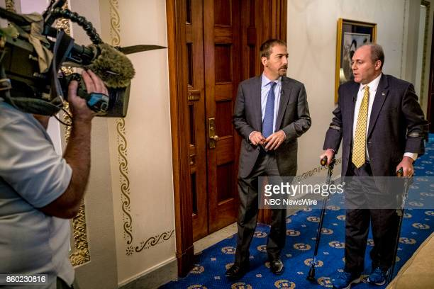 Moderator Chuck Todd and Rep Steve Scalise appear in a pre taped interview at Scalise's office on 'Meet the Press' in Washington DC Thursday Oct 5...