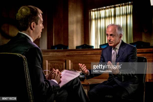 Moderator Chuck Todd and Sen Bob Corker appear in a pre taped interview in the Senate Foreign Relations Committee hearing room on 'Meet the Press' in...