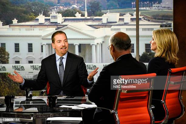 Moderator Chuck Todd David Books Columnist The New York Times and Katty Kay Anchor for BBC World News America appear on 'Meet the Press' in...