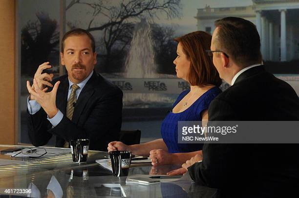 Moderator Chuck Todd Kelly ODonnell NBC News Capitol Hill Correspondent and Robert Gibbs Fmr White House Press Secretary appear on 'Meet the Press'...
