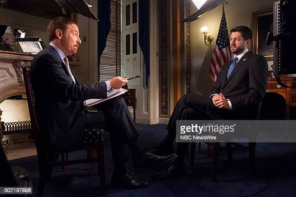 Moderator Chuck Todd left and House Speaker Paul Ryan right appear in a pre taped interview on 'Meet the Press' in Washington DC Friday Dec 18 2015