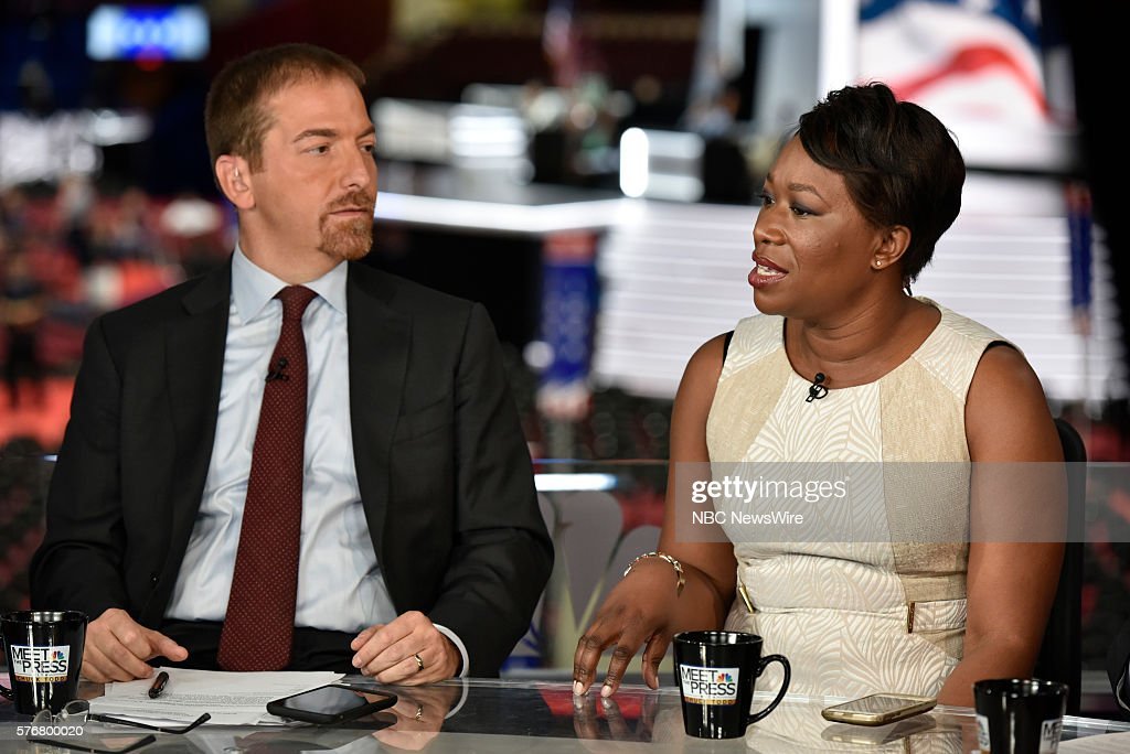 Moderator Chuck Todd right JoyAnn Reid Host AM Joy appear on 'Meet the Press' in Cleveland OH Sunday July 17 2016