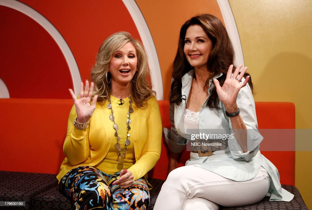 <a gi-track='captionPersonalityLinkClicked' href=/galleries/search?phrase=Morgan+Fairchild&family=editorial&specificpeople=213901 ng-click='$event.stopPropagation()'>Morgan Fairchild</a> and <a gi-track='captionPersonalityLinkClicked' href=/galleries/search?phrase=Lynda+Carter&family=editorial&specificpeople=215112 ng-click='$event.stopPropagation()'>Lynda Carter</a> appear on NBC News' 'Today' show --