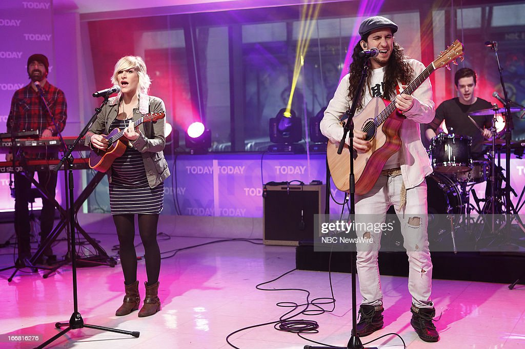 Music group 'Walk Off The Earth' (l-r) Sarah Blackwood, Gianni Luminati appear on NBC News' 'Today' show --