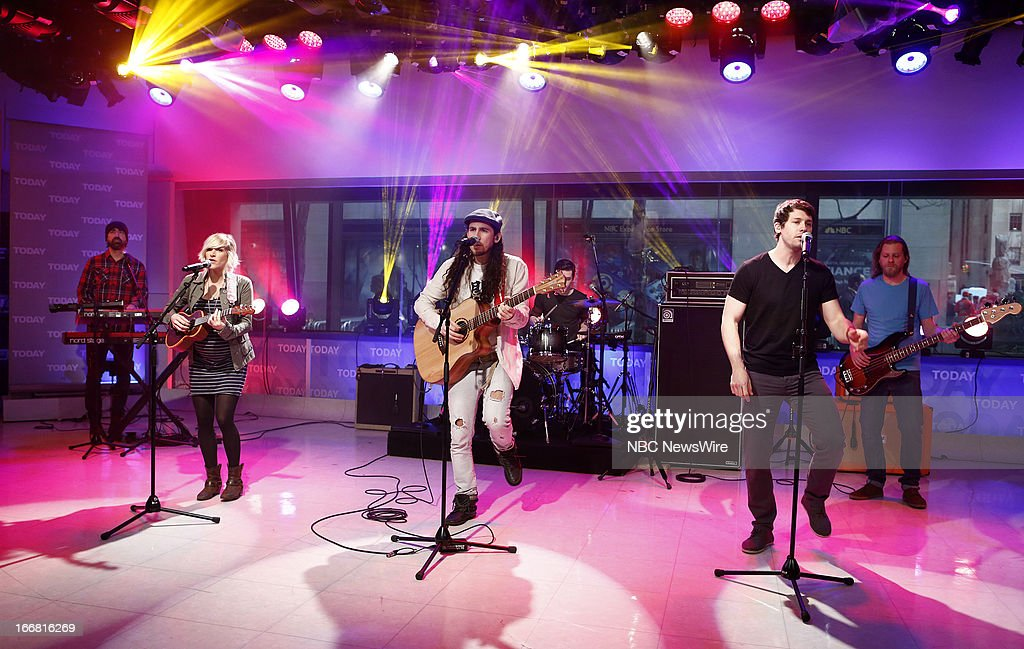 Music group 'Walk Off The Earth' (l-r) Sarah Blackwood, Gianni Luminati, Ryan Marshall appear on NBC News' 'Today' show --