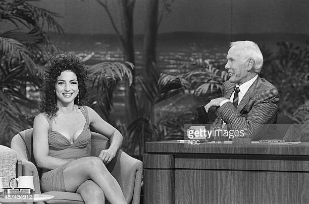 Musical guest Gloria Estefan during an interview with host Johnny Carson on July 18 1991