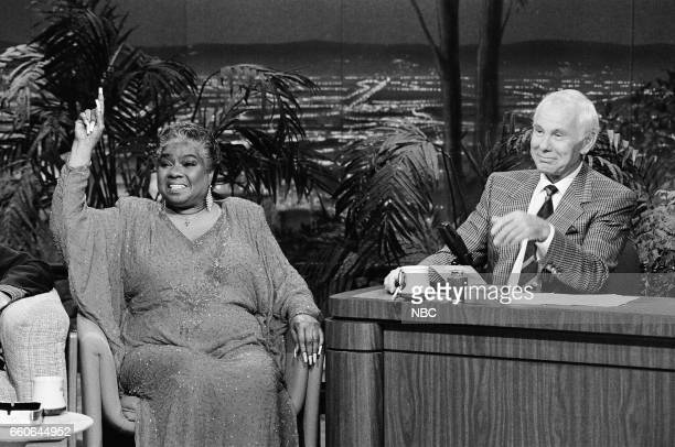 Musical guest Linda Hopkins during an interview with host Johnny Carson on August 14 1991