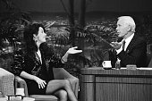 Musical guest Sarah Brightman during an interview with host Johnny Carson on January 31 1991