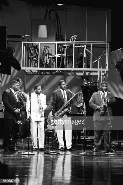 Musical guest Wynton Marsalis second from left performs on July 16 1991