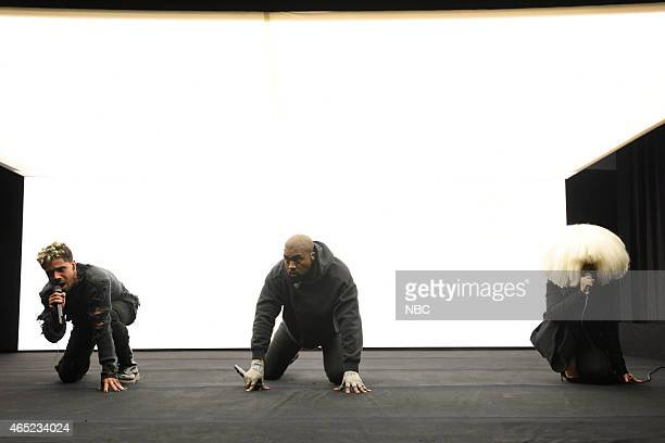 Musical guests Vic Mensa Kanye West Sia perform on February 15 2015