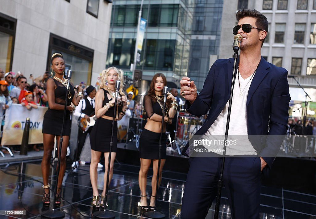 Musicial guest Robin Thicke appears on NBC News' 'Today' show on July 30, 2013 --