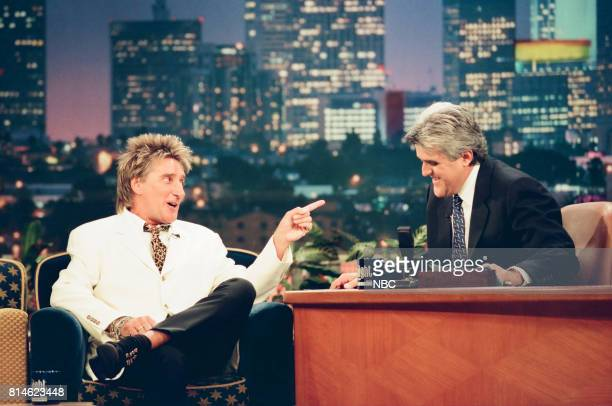 Musician Rod Stewart during an interview with host Jay Leno on June 4 1998