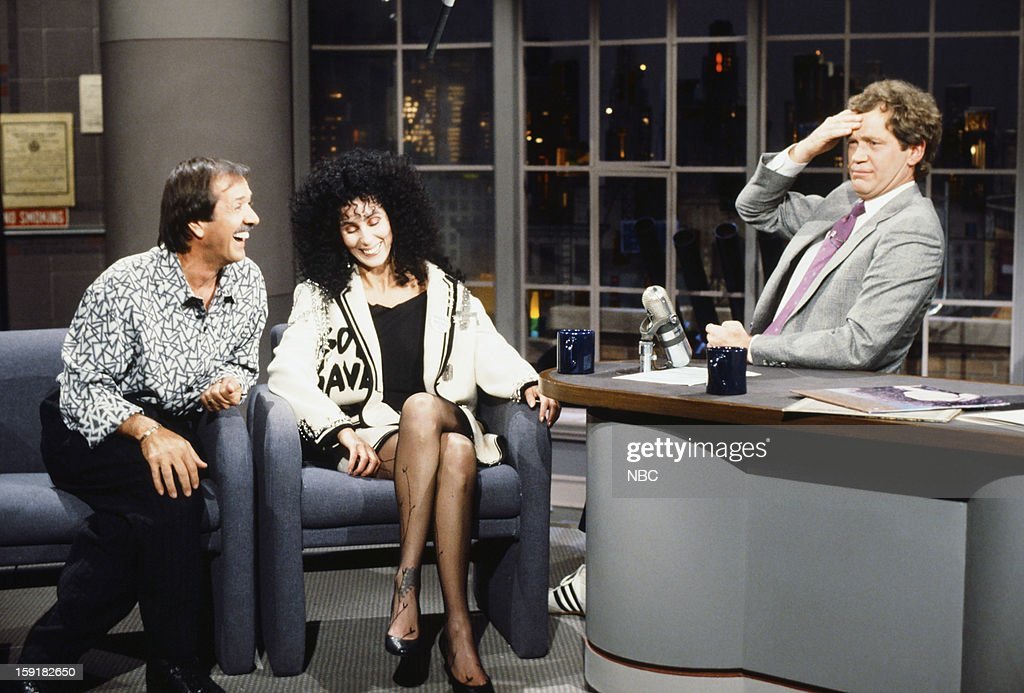 Musician/actor Sonny Bono, musician/actress Cher, host David Letterman on November 13, 1987 --