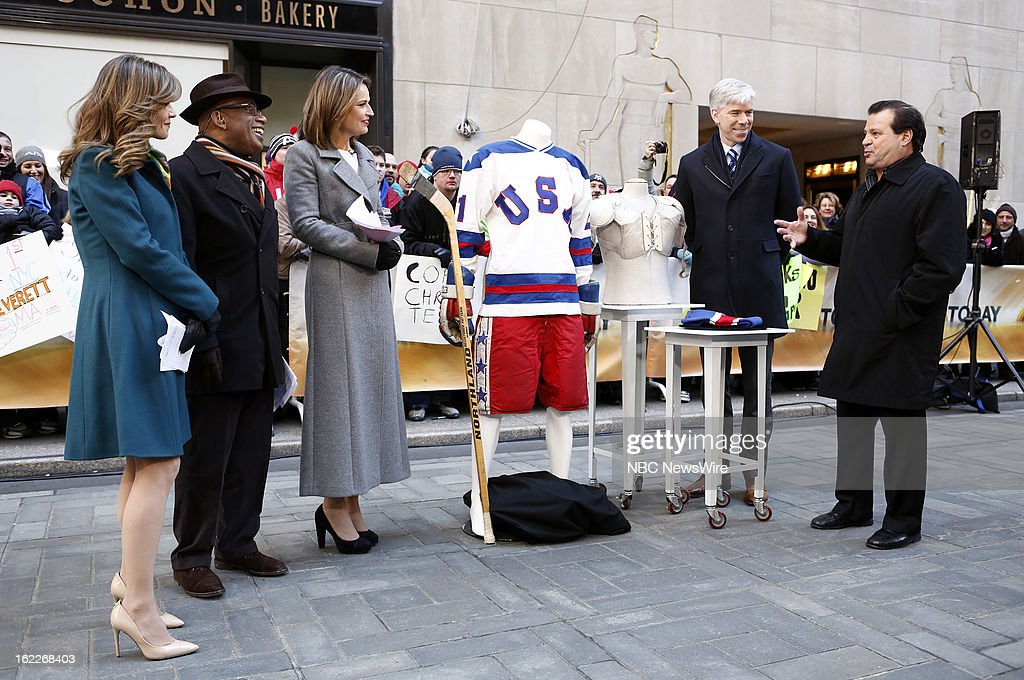 Natalie Morales, Al Roker, Savannah Guthrie, David Gregory and Mike Eruzione appear on NBC News' 'Today' show --