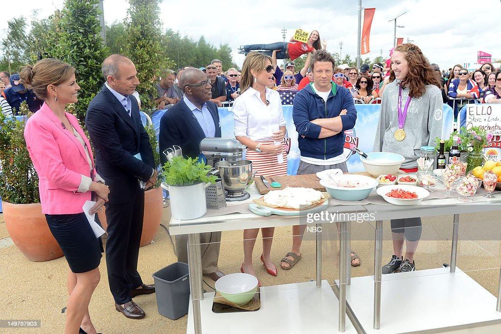 Natalie Morales, Matt Lauer, Al Roker, Savannah Guthrie, Jamie Oliver, Shannon Vreeland on August 2, 2012 -- Photo by: