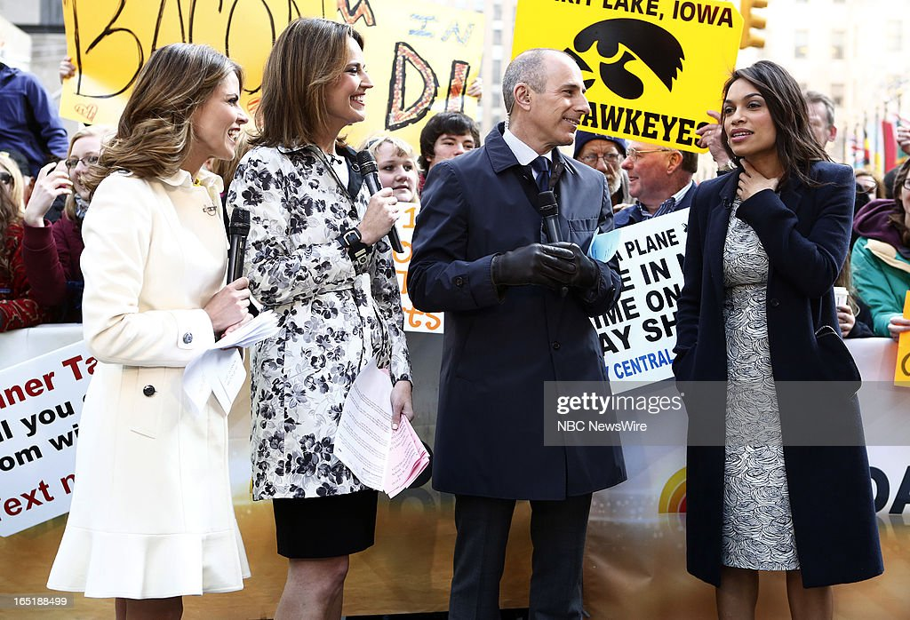 Natalie Morales, Savannah Guthrie, Matt Lauer and actress Rosario Dawson appear on NBC News' 'Today' show on April 1, 2013 --
