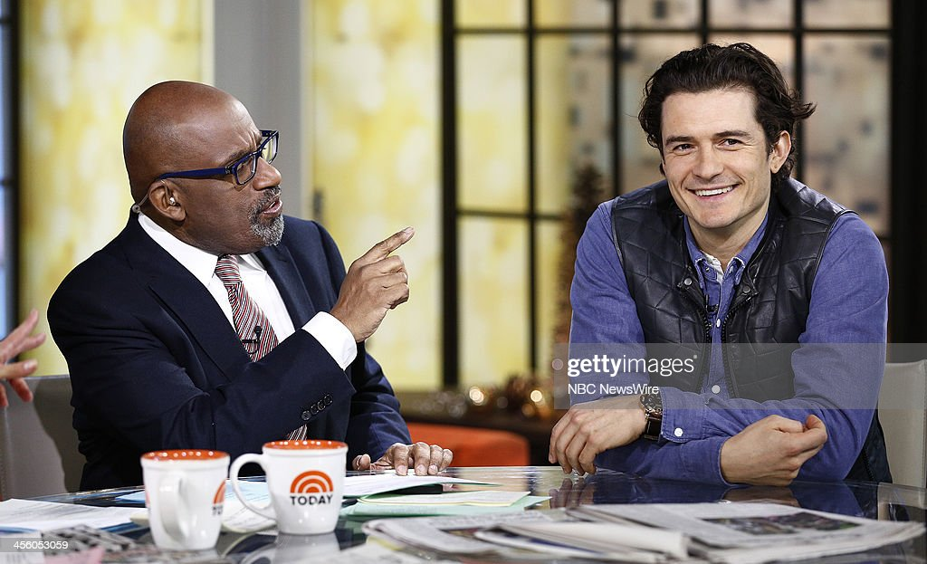 NBC News' Al Roker and actor Orlando Bloom appear on NBC News' 'Today' show on December 13, 2013 --