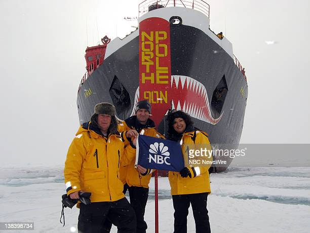 NBC news correspondent Kerry Sanders producer Nery Ynclan and cameraman Dmitry Solovyov stand in front of Russian nuclear powered icebreaker Yamal...
