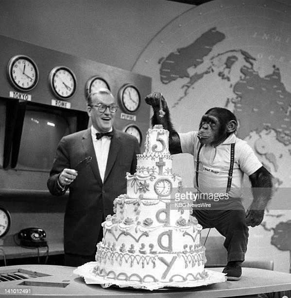 NBC News' Dave Garroway J Fred Muggs the chimpanzee celebrate the 5th Anniversary of 'TODAY' on January 14 1957 Photo by NBC/NBC NewsWire