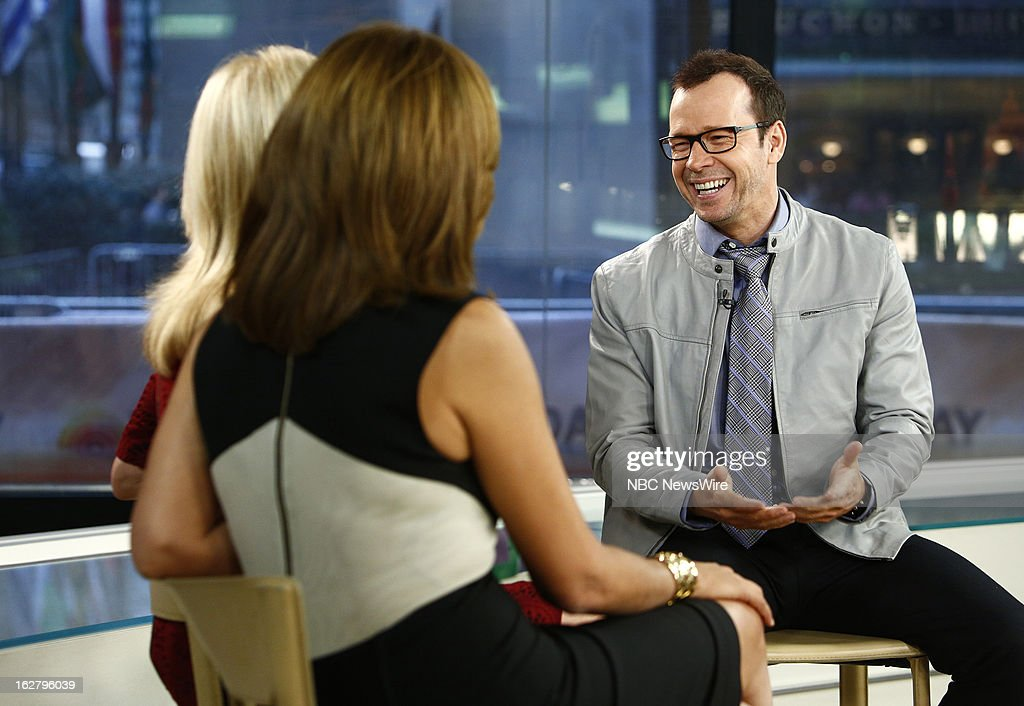 NBC News Hoda Kotb, Kathie Lee Gifford and actor Donnie Wahlberg appear on NBC News' 'Today' show on February 27, 2013 --