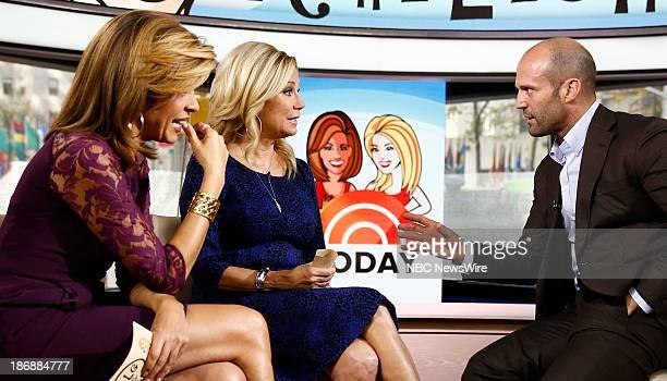 NBC News' Hoda Kotb Kathie Lee Gifford and actor Jason Statham appear on NBC News' 'Today' show on November 4 2013