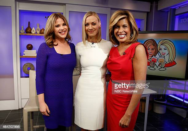 NBC News' Jenna Bush Hager actress Yvonne Strahovski and NBC News' Hoda Kotb appear on NBC News' 'Today' show on January 21 2014