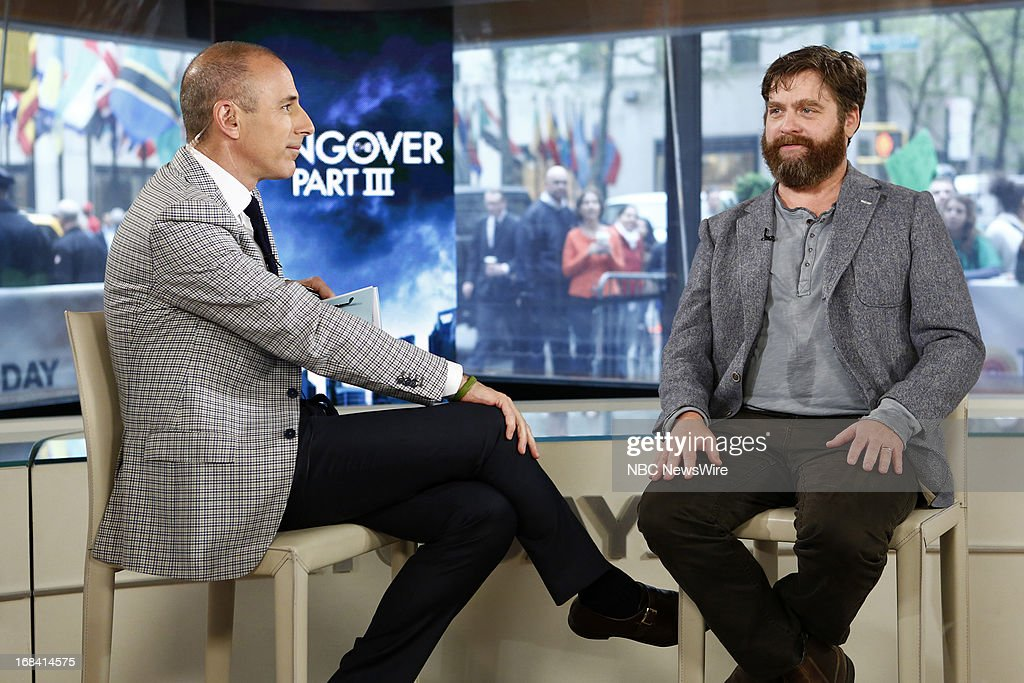 NBC News' Matt Lauer and actor/comedian Zach Galifianakis appear on NBC News' 'Today' show on May 9, 2013 --