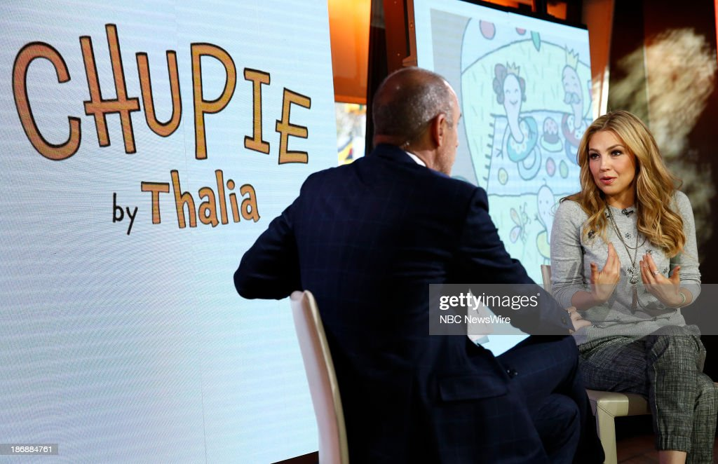 NBC News' <a gi-track='captionPersonalityLinkClicked' href=/galleries/search?phrase=Matt+Lauer&family=editorial&specificpeople=206146 ng-click='$event.stopPropagation()'>Matt Lauer</a> and Singer/children's author Thalia appear on NBC News' 'Today' show on November 4, 2013 --