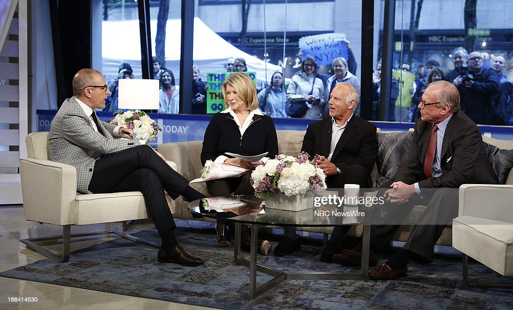 NBC News' Matt Lauer, Martha Stewart, Match.com suitors director Stan Schofield and Larry Traub appear on NBC News' 'Today' show on May 9, 2013 --