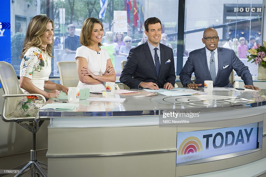 NBC News' <a gi-track='captionPersonalityLinkClicked' href=/galleries/search?phrase=Natalie+Morales+-+Nyhetsankare&family=editorial&specificpeople=710956 ng-click='$event.stopPropagation()'>Natalie Morales</a>, <a gi-track='captionPersonalityLinkClicked' href=/galleries/search?phrase=Savannah+Guthrie&family=editorial&specificpeople=653313 ng-click='$event.stopPropagation()'>Savannah Guthrie</a>, <a gi-track='captionPersonalityLinkClicked' href=/galleries/search?phrase=Carson+Daly&family=editorial&specificpeople=202941 ng-click='$event.stopPropagation()'>Carson Daly</a>, and <a gi-track='captionPersonalityLinkClicked' href=/galleries/search?phrase=Al+Roker&family=editorial&specificpeople=206153 ng-click='$event.stopPropagation()'>Al Roker</a> appear on NBC News' Today show on July 29, 2013 --